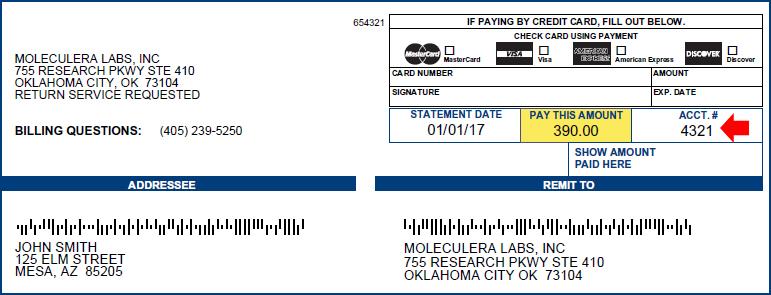 Moleculera Labs Sample Bill