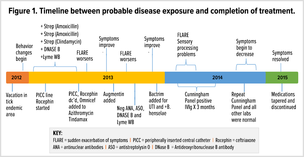 Progression and treatment of a 7-year-old female with persistent Lyme disease.
